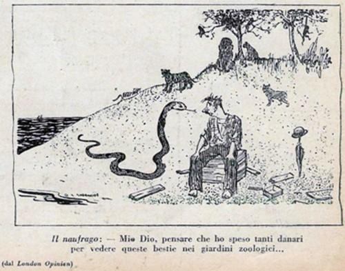 Vignetta di naufrago tratta dal «La Settimana Enigmistica» n. 1